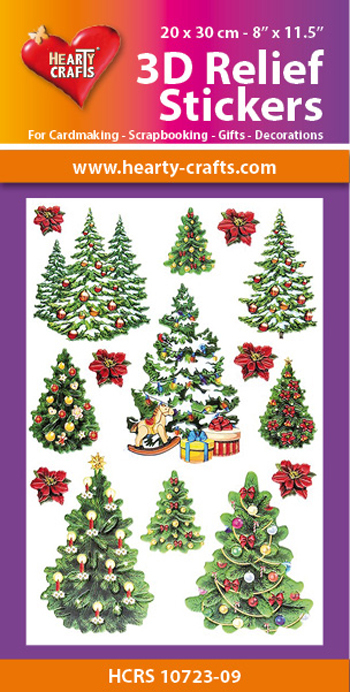 3D Relief Stickers A4 -Christmas Trees