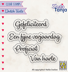 "Clear stamps Dutch texts ""Proficiat etc.."""