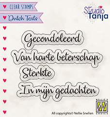 "Clear stamps Dutch texts ""Gecondoleerd etc.."""