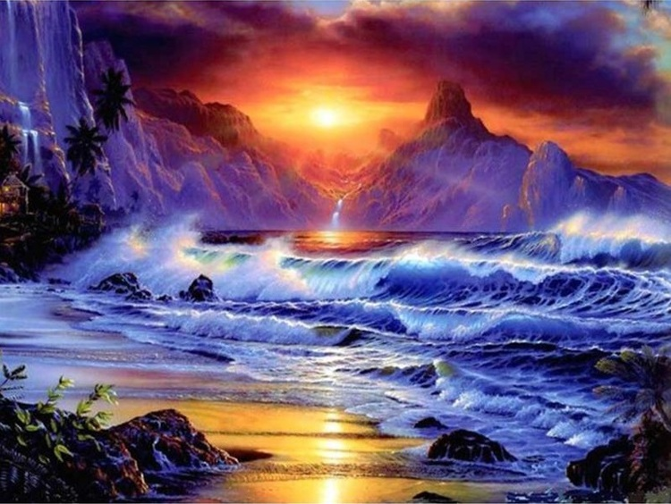 Diamond Painting vierkant sunset zee
