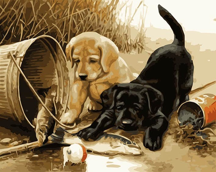 Diamond Painting vierkant 2 puppy's
