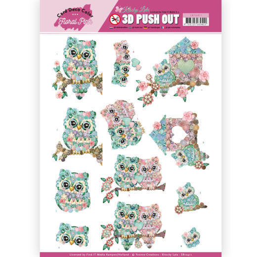 SB10411 3D Pushout - Yvonne Creations - Floral Pink (Kitschy Lala) - Kitschy Owls