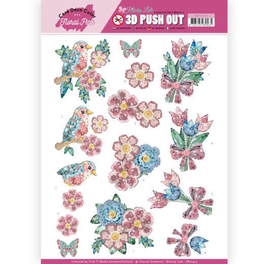 SB10413 3D Pushout - Yvonne Creations - Floral Pink (Kitschy Lala) - Kitchy Flowers
