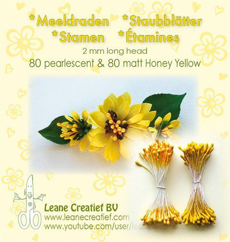 Meeldraden 2mm, 80 matt & 80 pearl honey yellow