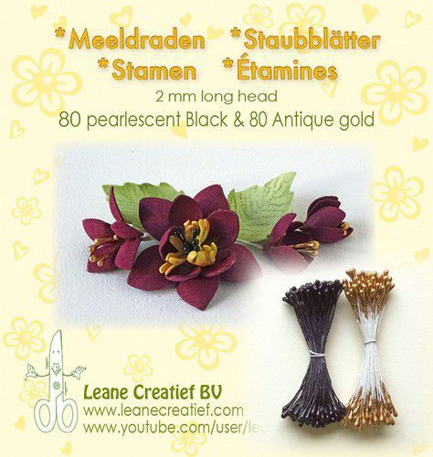 Meeldraden 2mm, 80 pearl black & 80 antique gold