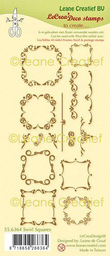 LeCreaDesign® combi clear stamp Swirl Vierkanten