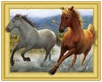 WD 111 diamond painting 3 D framed horses 40 x 50