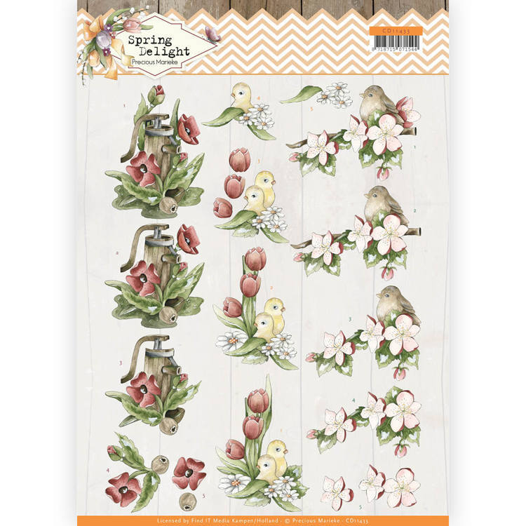 3D cutting sheet - Precious Marieke - Spring Delight - Red Flowers
