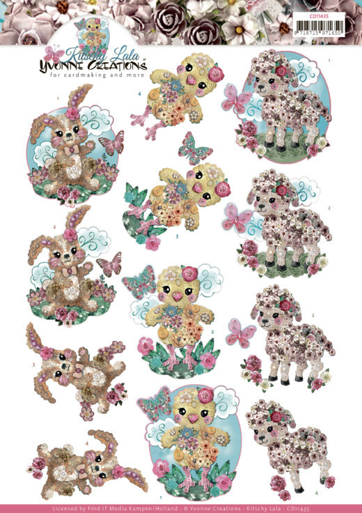 3D cutting sheet - Yvonne Creations - Kitschy Lala - Kitschy Baby Animals