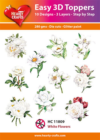Easy 3D-Toppers White Flowers