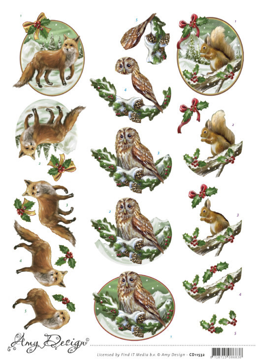 CD11532 3D Cutting Sheet - Amy Design - Christmas Animals