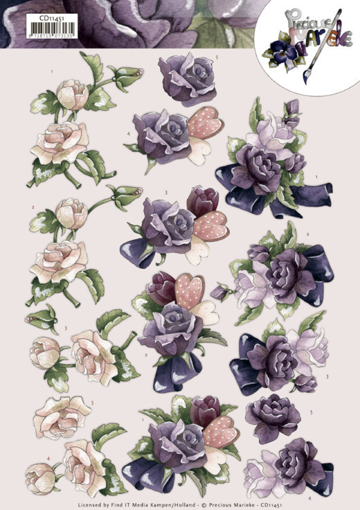 CD11451 3D Cutting Sheet - Precious Marieke - Pink Roses