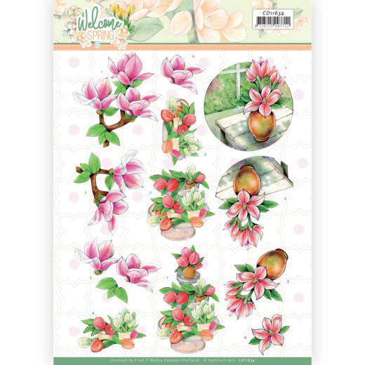 3D cutting sheet - Jeanine's Art  Welcome Spring - Pink Magnolia