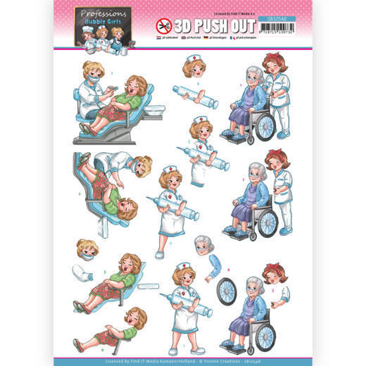 SB10548 3D Push Out - Yvonne Creations - Bubbly Girls Proffesions - Nurse