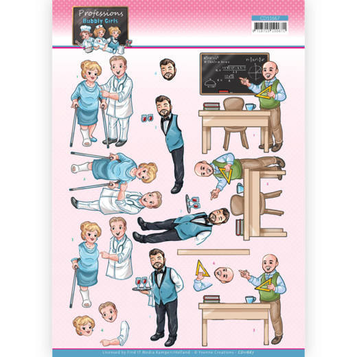 CD11667 3D Cutting Sheet - Yvonne Creations - Bubbly Girls Proffesions - Male Professions