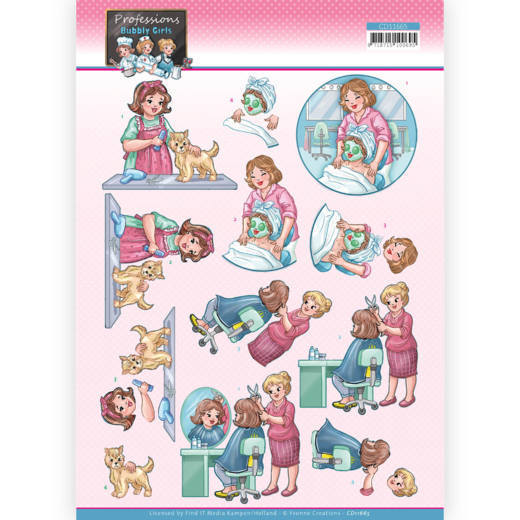 CD11665 3D Cutting Sheet - Yvonne Creations - Bubbly Girls Proffesions - Beautician
