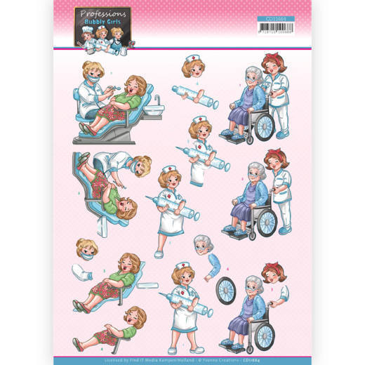 CD11664 3D Cutting Sheet - Yvonne Creations - Bubbly Girls Proffesions - Nurse